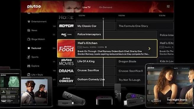 Una recreación de los dispositivos en los que está disponible Pluto TV.
