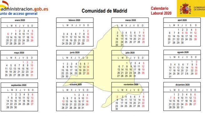 Calendario laboral de la Comunidad de Madrid.