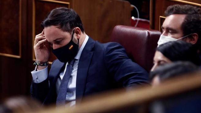 El líder de Vox, Santiago Abascal, en la segunda y última sesión del debate de moción de censura.