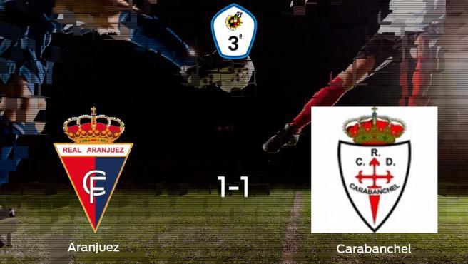 El Real Aranjuez CF y el Real Carabanchel empatan en El Deleite (1-1)