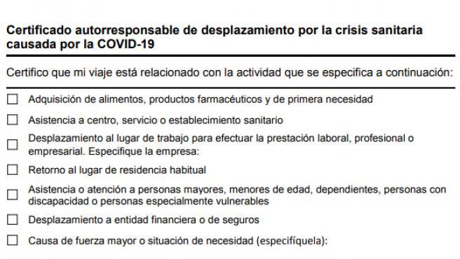 Certificado autorresponsable de desplazamiento en Catalunya.