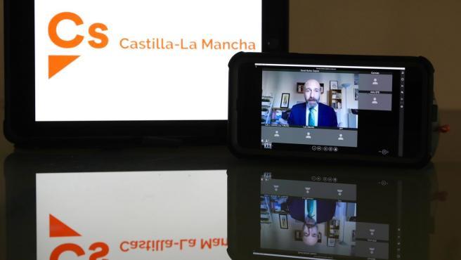 El diptuado de Ciudadanos David Muñoz Zapata participa por videoconferencia en la Comisión de Asuntos Generales de las Cortes.
