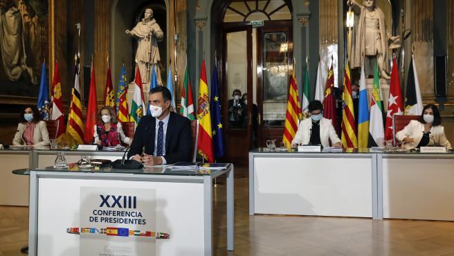 El presidente del Gobierno, Pedro Sánchez, en el Senado durante la Conferencia de Presidentes de este lunes.