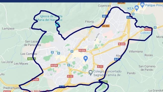 Mapa del cierre perimetral de Oviedo.