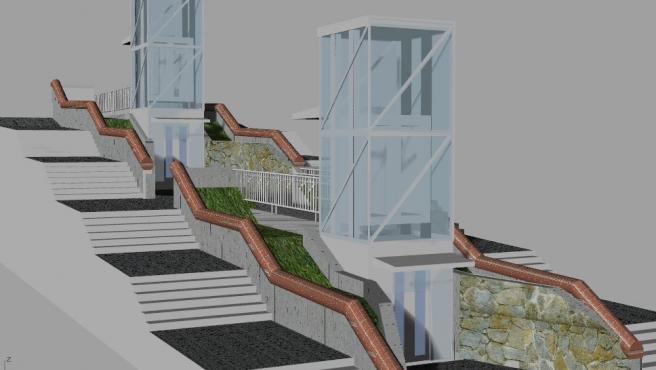 Infografía de los dos ascensores que se ubicarán en Irala.