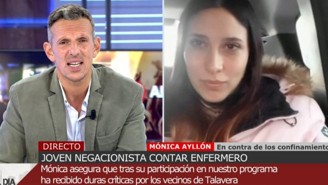 Mónica, joven negacionista, en 'Cuatro al día'.