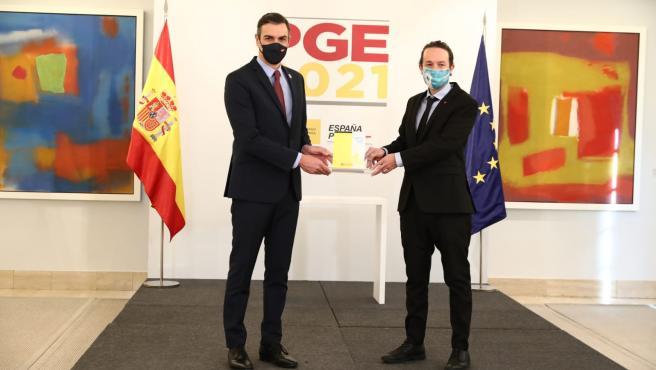 Sánchez e Iglesias presentan el proyecto de Presupuestos.MONCLOA