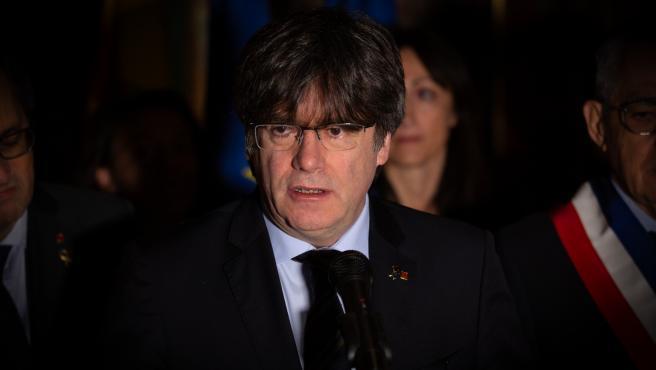 El expresidente de la Generalitat de Cataluña, Carles Puigdemont, durante su visita a Perpignan (Francia) a 29 de febrero de 2020.