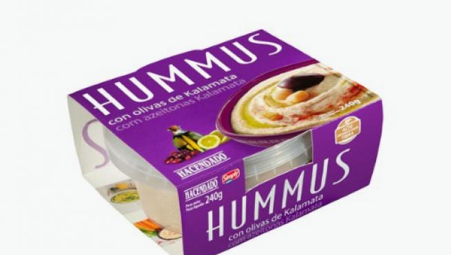 Hummus de garbanzos Hacendado con olivas de kalamata