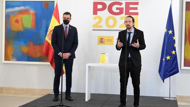 El presidente del Gobierno, Pedro Sánchez, y el vicepresidente Pablo Iglesias, presentan el proyecto de Presupuestos Generales del Estado de 2021.