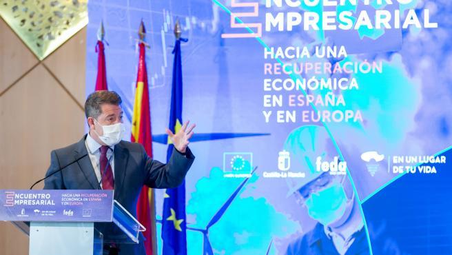El presidente de Castilla-La Mancha, Emiliano García-Page, clausurando un encuentro empresarial en la ciudad de Albacete