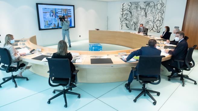 O titular do Goberno galego, Alberto Núñez Feijóo, preside a reunión do Consello da Xunta. Edificio Administrativo de San Caetano, Santiago de Compostela, 29/10/20.
