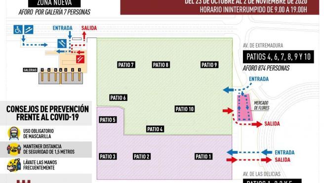 Protoclo de medidas anticovid en el cementerio de Cáceres