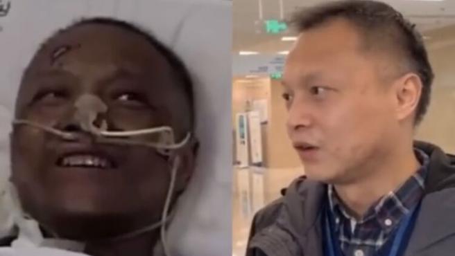 Uno de los médicos chinos a los que se le oscureció la piel por la Covid-19, vuelve a reaparecer completamente recuperado.