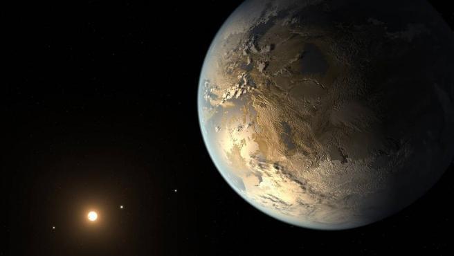 Ilustración de Kepler-186f, el primer planeta validado del tamaño de la Tierra que orbita una estrella distante en la zona habitable.