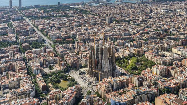 Vista aérea de la Sagrada Familia, en Barcelona.