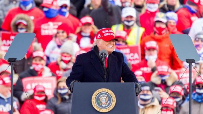 El presidente de EE UU, Donald Trump, durante un mitin electoral en Michigan.
