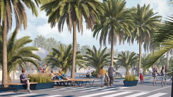 Una recreación virtual del futuro espacio para pasear en el Port Olímpic.