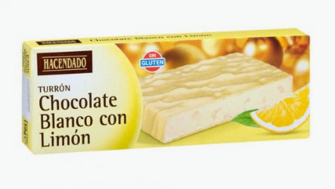 Turrón de chocolate blanco y limón de Mercadona.