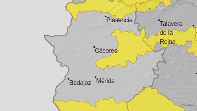 El 112 amplía la alerta amarilla debido al viento en el norte de la provincia de Cáceres