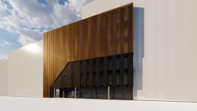 Nueva fachada propuesta por HXR Arquitectos para el edificio de la Dirección Provincial del Instituto Nacional de la Seguridad Social.