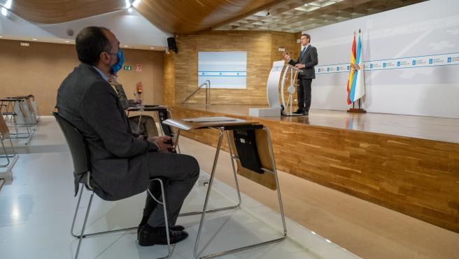 O presidente da Xunta, Alberto Núñez Feijóo, comparece para dar conta das medidas acordadas no comité clínico. Santiago de Compostela, 04/11/20.
