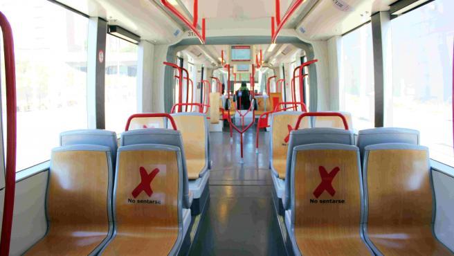 Tranvía de Zaragoza con medidas anticovid-19