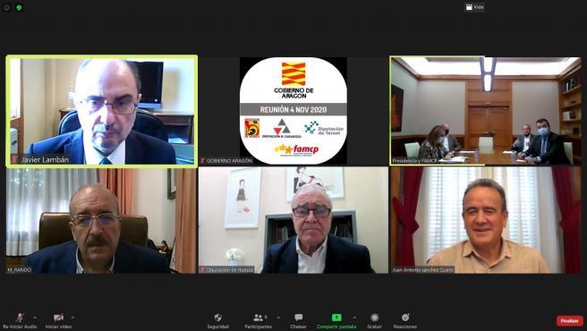 Videoconferencia del Gobierno de Aragón, Ayuntamientos y Diputaciones para aunar para rescatar los sectores más damnificados