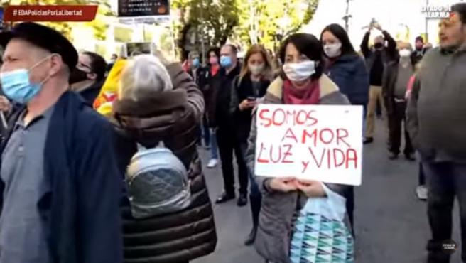 Imagen de la manifestación contra las restricciones.