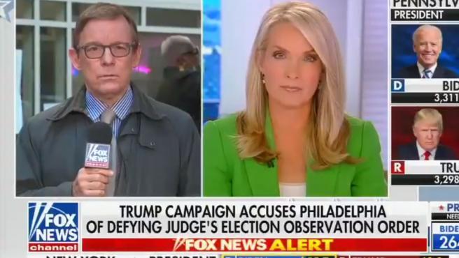 Momento de la intervención en directo de un reportero de Fox que ha desmentido las acusaciones de Trump.