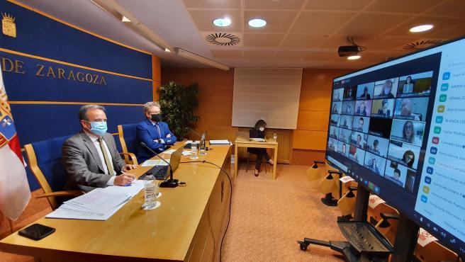 El presidente de la DPZ, Juan Antonio Sánchez Quero, en el Pleno telemático celebrado este jueves.