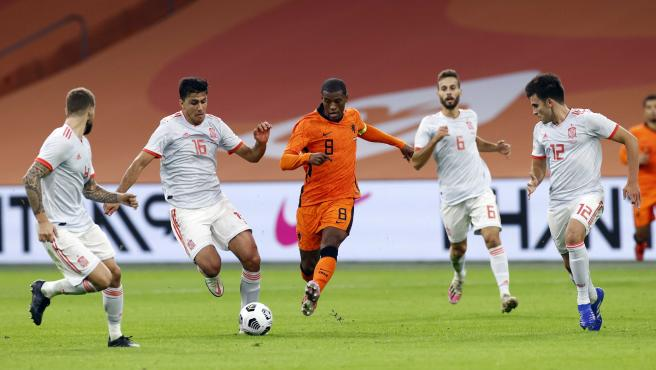 Rodri conduce el balón ante la presión de Wijnaldum