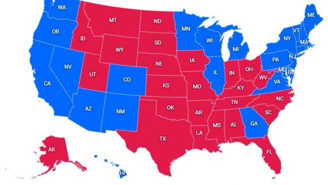 Mapa de resultados de EE UU, actualizado a 13 de noviembre.