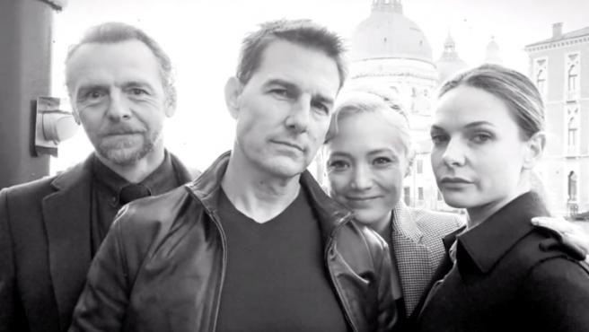 Simon Pegg, Tom Cruise, Pom Klementieff y Rebecca Ferguson