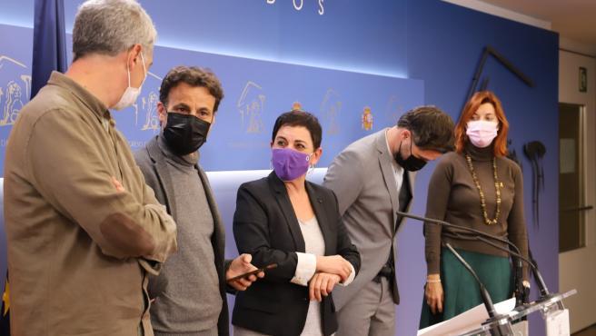 Los portavoces de En Comú Podem, EH Bildu y ERC, en el Congreso.