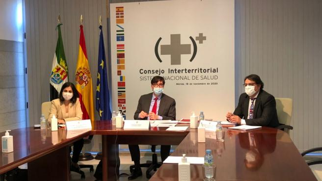 Los ministros de Sanidad y de Política Territorial en el Consejo Interterritorial de Sanidad de este miércoles.