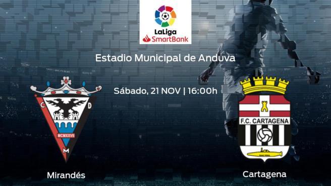 Horario y dónde ver el CD Mirandés - Cartagena de la Segunda División