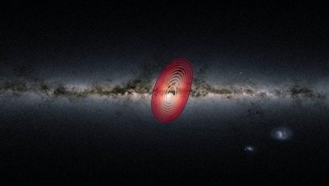 Los anillos de colores muestran la extensión aproximada de las estrellas que provienen de la galaxia fósil conocida como Heracles.
