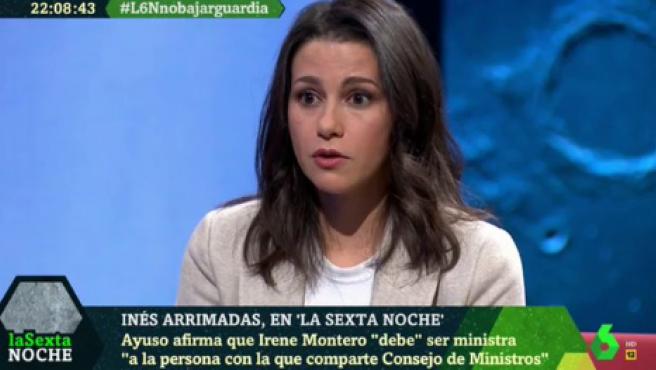 La líder de Ciudadanos, Inés Arrimadas, en LaSexta.