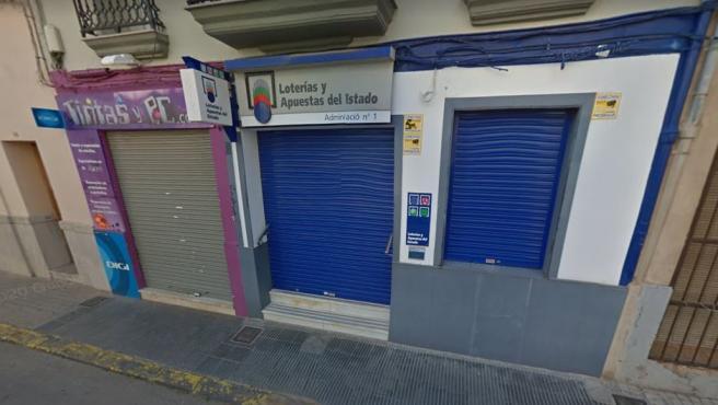 Imagen de una administración de Loterías en Nules, Castellón.