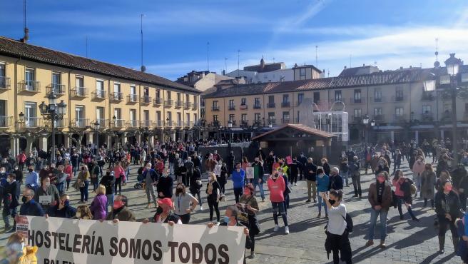 Autónomos, durante la manifestación de hoy en Palencia.