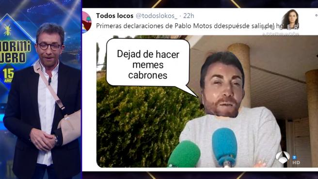 Pablo Motos y uno de los memes de su operación.