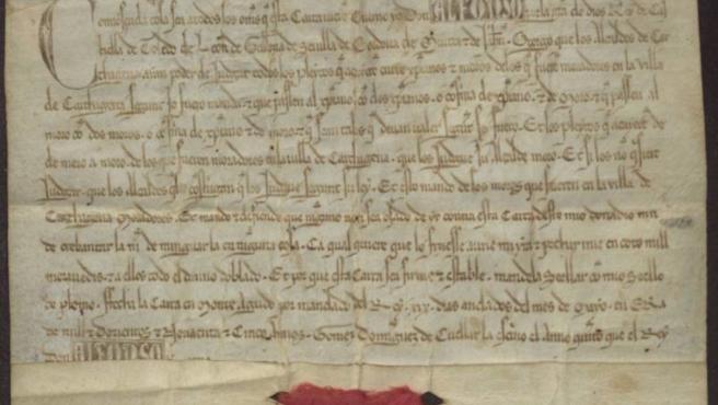 Imagen de una carta de Alfonso X a la ciudad de Cartagena