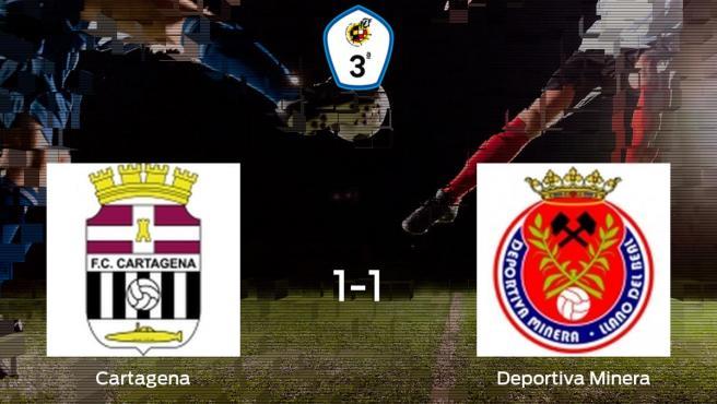 El Cartagena B y la Deportiva Minera se reparten los puntos y empatan 1-1
