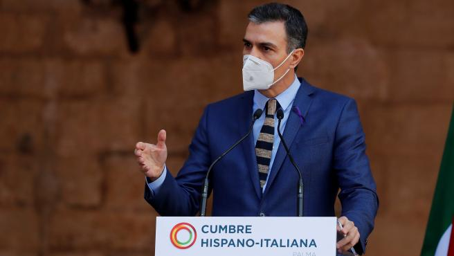 El presidente del Gobierno. Pedro Sánchez, este lunes en Palma.