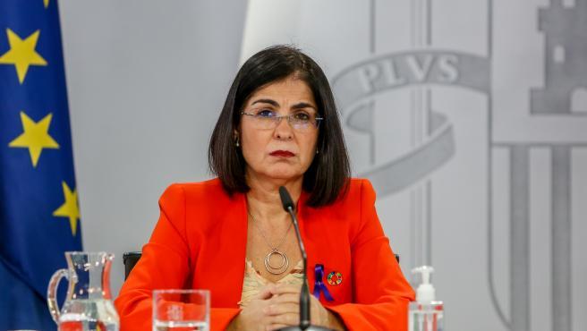 La ministra de Política Territorial, Carolina Darias, en la rueda de prensa tras el Consejo Interterritorial de Salud.