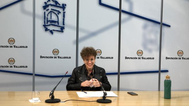 La protavoz de TLP, Virginia Hernández, durante la rueda de prensa.