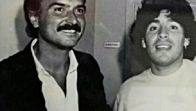 Quique Guasch y Maradona.