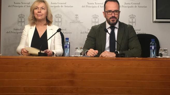 Los diputados de Vox en la Junta General Sara Álvarez Rouco e Ignacio Blanco