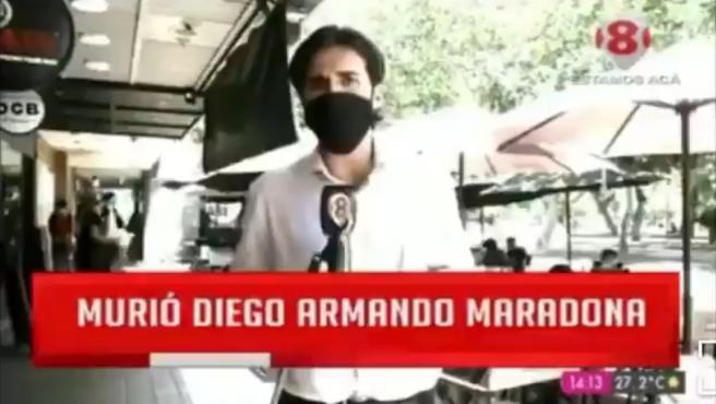 Un reportero de Canal 8 San Juan, Argentina.